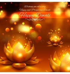 Golden lotus shaped diya on abstract Diwali vector image