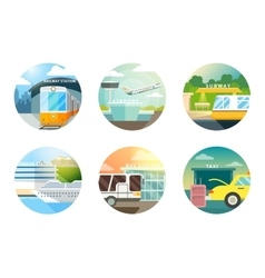 Transport stations flat icons set vector
