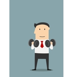 Healthy businessman doing exercises with dumbbells vector
