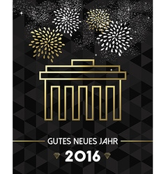 New year 2016 berlin germany brandenburg gate gold vector