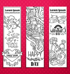 Set of doodles valentines banners vector