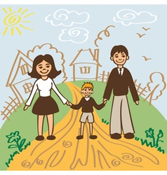 Family for walk in summer vector