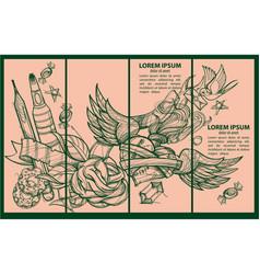 a set of four banner templates envelope pencil vector image