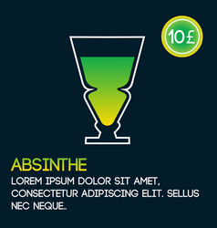 absinthe cocktail card template with price and vector image vector image