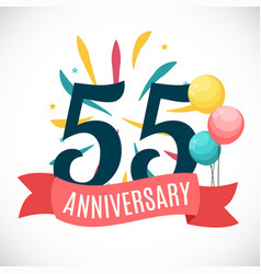 Anniversary 55 years template with ribbon vector
