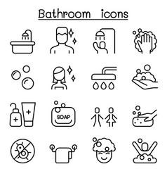bathroom icon set in thin line style vector image vector image