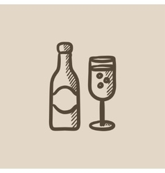 Champagne bottle and two glasses sketch icon vector image vector image