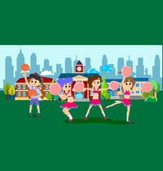 Cheerleader dancing in uniform with pom poms vector