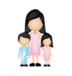 color silhouette faceless with mother daughter and vector image vector image