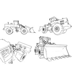 construction machinery loader a lot of vector image