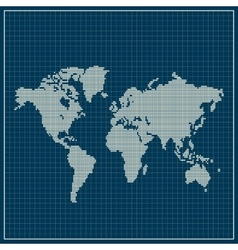 Dotted world map over blue background vector image