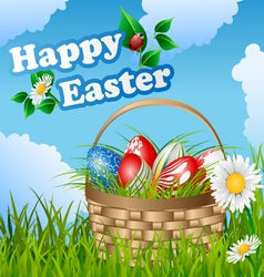 Easter card with basket and eggs vector image vector image
