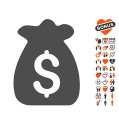 Financial capital icon with dating bonus vector