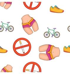 Fitness lifestyle pattern cartoon style vector