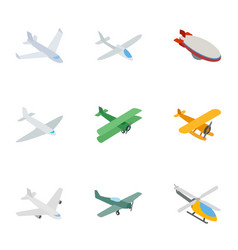 Flying aircraft icons isometric 3d style vector