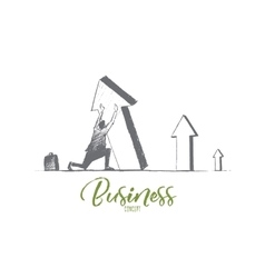 Hand drawn businessman business concept lettering vector image vector image