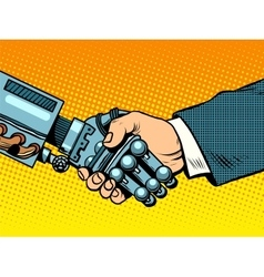 Handshake of robot and man new technologies vector