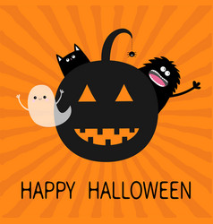 happy halloween smiling pumpkin face silhouette vector image vector image