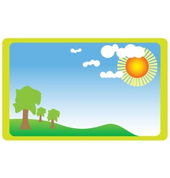 Meadow with sun vector image