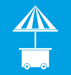 Mobile cart with umbrella for sale food icon white vector