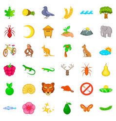 Nature protected territory icons set cartoon vector