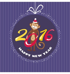 New year greeting card with monkey vector