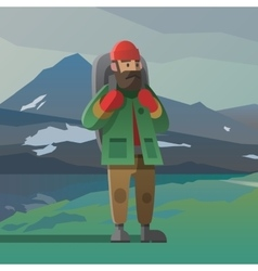 Old man with beard and backpack in the mountains vector image