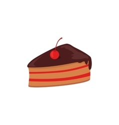 Part of Cake with Cherry Design vector image