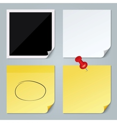 Photo frame white paper yellow stick note set vector
