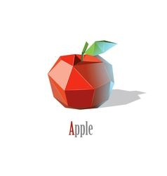 polygonal red apple with leaf modern low poly icon vector image