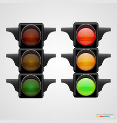 realistic traffic lights isolated on white vector image vector image
