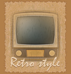 Retro style poster old tv vector