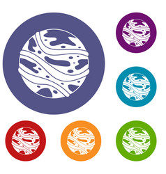 round planet icons set vector image vector image