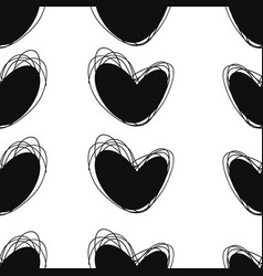 Seamless doodle pattern heart hand drawings vector