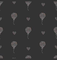 Seamless heart air balloon pattern on dark vector