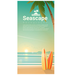 Seascape background with surfboards on the beach vector