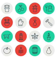 Set of 16 planting icons includes garden clothes vector