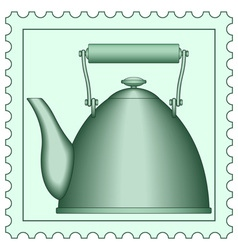Teapot on stamp vector image vector image