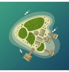 Tropical island beach or paradise isle top view vector image