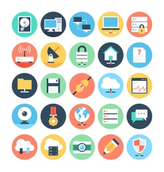 Web and Networking Flat Icons 1 vector image