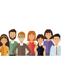 white background with half body group people of vector image
