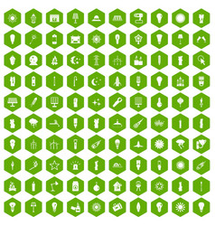 100 light source icons hexagon green vector