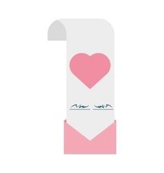 wedding invitation card pink heart envelope vector image