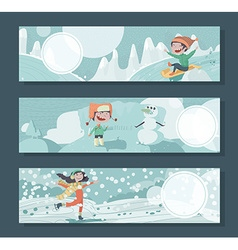 Horizontal banners with children playing outdoor vector