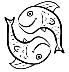 Pisces isolated on white vector