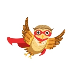 Owl superhero cute cartoon character emoji with vector