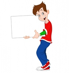 Teenager holding blank sign vector
