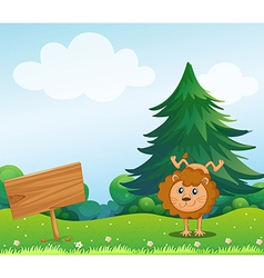 A little lion in the hill with a wooden signboard vector