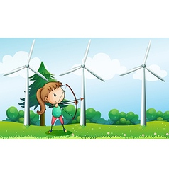 A girl with an archer near the windmills vector image