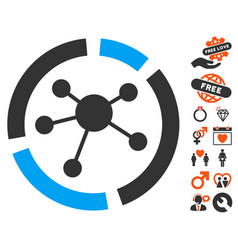 Connections diagram icon with valentine bonus vector